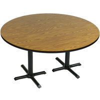 Correll BCT60R-06 60 inch Round Medium Oak Finish / Black Table Height High Pressure Cafe / Breakroom Table with Two Cross Bases