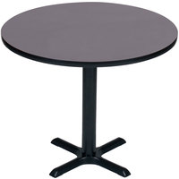 Correll BXT24R-07 24 inch Round Black Granite Finish / Black Table Height High Pressure Cafe / Breakroom Table