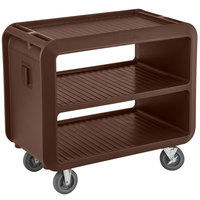 Cambro SC337131 Service Cart Pro 42 inch x 24 inch x 37 inch Dark Brown One-Piece Beverage / Service Cart with 2 Fixed and 2 Swivel Casters