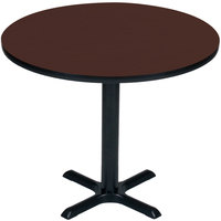 Correll BXT30R-21 30 inch Round Cherry Finish / Black Table Height High Pressure Cafe / Breakroom Table
