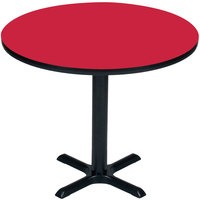 Correll BXT48R-35 48 inch Round Red Finish / Black Table Height High Pressure Cafe / Breakroom Table