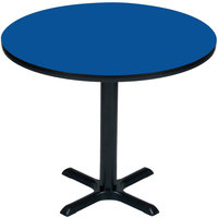 Correll BXT48R-37 48 inch Round Blue Finish / Black Table Height High Pressure Cafe / Breakroom Table
