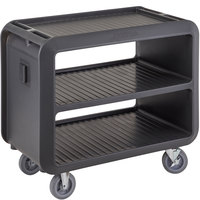 Cambro SC337615 Service Cart Pro 42 inch x 24 inch x 37 inch Charcoal Gray One-Piece Beverage / Service Cart with 2 Fixed and 2 Swivel Casters