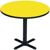 Correll BXT24R-38 24 inch Round Yellow Finish / Black Table Height High Pressure Cafe / Breakroom Table
