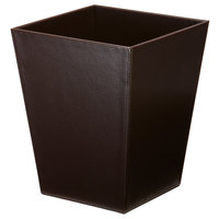 Melrose Brown Collection Faux Leather 10 Qt. Trapezoid Wastebasket