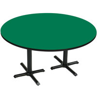Correll BCT60R-39 60 inch Round Green Finish / Black Table Height High Pressure Cafe / Breakroom Table with Two Cross Bases