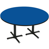Correll BCT60R-37 60 inch Round Blue Finish / Black Table Height High Pressure Cafe / Breakroom Table with Two Cross Bases