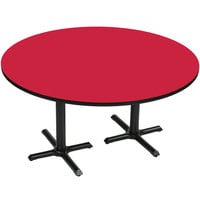 Correll BCT60R-35 60 inch Round Red Finish / Black Table Height High Pressure Cafe / Breakroom Table with Two Cross Bases
