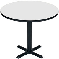 Correll BXT24R-36 24 inch Round White Finish / Black Table Height High Pressure Cafe / Breakroom Table