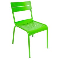 BFM Seating PH812CLM Beachcomber Lime Stackable Aluminum Outdoor / Indoor Side Chair