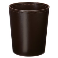 Melrose Brown Collection Faux Leather 10 Qt. Round Wastebasket