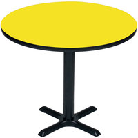 Correll BXT30R-38 30 inch Round Yellow Finish / Black Table Height High Pressure Cafe / Breakroom Table