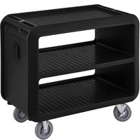 Cambro SC337110 Service Cart Pro 42 inch x 24 inch x 37 inch Black One-Piece Beverage / Service Cart with 2 Fixed and 2 Swivel Casters