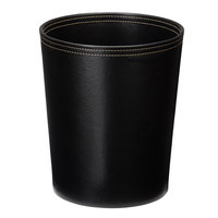 Melrose Black Collection Faux Leather 10 Qt. Round Wastebasket