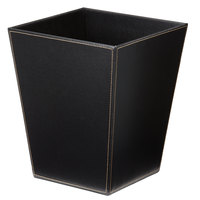 Melrose Black Collection Faux Leather 10 Qt. Trapezoid Wastebasket