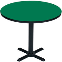 Correll BXT36R-39 36 inch Round Green Finish / Black Table Height High Pressure Cafe / Breakroom Table