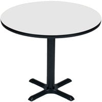 Correll BXT48R-36 48 inch Round White Finish / Black Table Height High Pressure Cafe / Breakroom Table