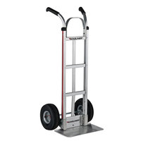 Magliner HMK116G14V 500 lb. Straight Back Hand Truck with 10 inch Pneumatic Wheels, Dual Handles, and Vertical Strap