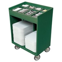 Cambro TC1418192 Granite Green Tray and Silverware Cart with Protective Vinyl Cover