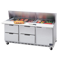 Beverage-Air SPED72HC-08-4 72 inch 1 Door 4 Drawer Refrigerated Sandwich Prep Table