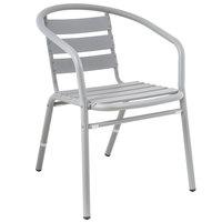 BFM Seating PH0021SG Capri Soft Gray Aluminum Outdoor / Indoor Arm Chair