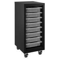 Hirsh Industries 22606 Black Mobile Tower with Clear Bins - 15 inch x 18 inch x 36 inch