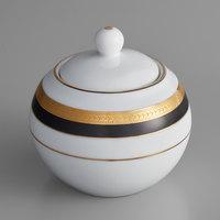 10 Strawberry Street SAH-18BK Sahara 8 oz. Black and Gold Porcelain Sugar Bowl with Lid   - 6/Case