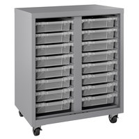 Hirsh Industries 22604 Platinum Mobile Cabinet with Clear Bins - 30 inch x 18 inch x 36 inch