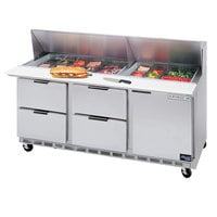 Beverage Air SPED72HC-18-4 72 inch 1 Door 4 Drawer Refrigerated Sandwich Prep Table