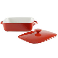 10 Strawberry Street SIENA-9RECCVCSS Sienna 2 Qt. Red Rectangular Porcelain Baker with Lid