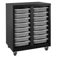 Hirsh Industries 22602 Black Mobile Cabinet with Clear Bins - 30 inch x 18 inch x 36 inch