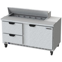 Beverage Air SPED60HC-12-2 60 inch 1 Door 2 Drawer Refrigerated Sandwich Prep Table