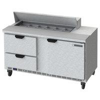 Beverage-Air SPED60HC-12-2 60 inch 1 Door 2 Drawer Refrigerated Sandwich Prep Table