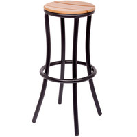 BFM Seating PH6074STKBL Norden Outdoor / Indoor Black Aluminum and Synthetic Teak Barstool