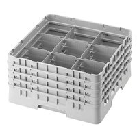 Cambro 9S434151 Soft Gray Camrack 9 Compartment 5 1/4 inch Glass Rack