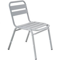 BFM Seating PH0025SG Capri Soft Gray Aluminum Outdoor / Indoor Side Chair