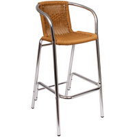 BFM Seating PH51BTN Madrid Outdoor / Indoor Tan Synthetic Wicker Bar Height Arm Chair