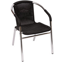 BFM Seating PH21CBL Madrid Outdoor / Indoor Stackable Black Synthetic Wicker Arm Chair