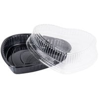 Genpak 55H09 Bake 'N Show Dual Ovenable Heart Shape Cake Pan with Lid - 10/Pack