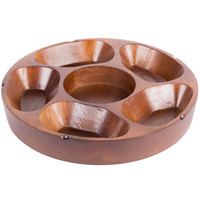 5 Compartment Carved Wooden Pu Pu Platter 12 inch Diameter