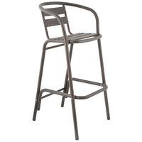 BFM Seating PH0063BZ Capri Bronze Aluminum Outdoor / Indoor Bar Height Arm Chair