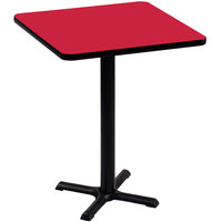 Correll BXB36S-35 36 inch Square Red Finish Bar Height High Pressure Cafe / Breakroom Table
