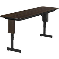 Correll SPA2496PX-51 24 inch x 96 inch Williamsburg Walnut Finish Premium Laminate Adjustable Height High Pressure Folding Seminar Table with Panel Legs