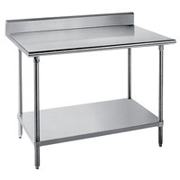 Advance Tabco KMS-306 30 inch x 72 inch 16 Gauge Stainless Steel Commercial Work Table with 5 inch Backsplash and Undershelf