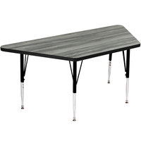 Correll A2448-TRP-52 24 inch x 48 inch Trapezoid New England Driftwood Finish Premium Laminate 21 inch - 30 inch Adjustable Height High Pressure Top Activity Table