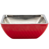 Bon Chef Diamond Collection Cold Wave 4 Qt. Red Triple Wall Square Bowl