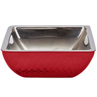 Bon Chef Diamond Collection Cold Wave 2 Qt. Red Triple Wall Square Bowl