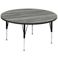Correll A60-RND-52 60 inch Round New England Driftwood Finish 19 inch - 29 inch Adjustable Height Premium Laminate High Pressure Top Activity Table