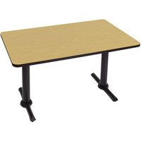 Correll BTT3060-16 30 inch x 60 inch Rectangular Fusion Maple Finish Standard Height High Pressure Cafe / Breakroom Table with Two T Bases