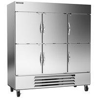 Beverage-Air HBR72HC-1-HS 75 inch Horizon Series Three Section Solid Half-Door Reach-In Refrigerator - 69 cu. ft.